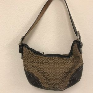 Coach khaki monogram and brown Leather Trim Hobo